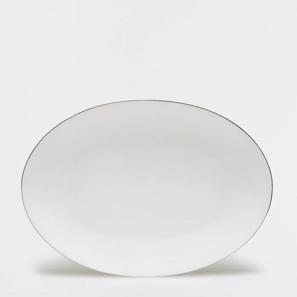 Silver rim bone china serving dish