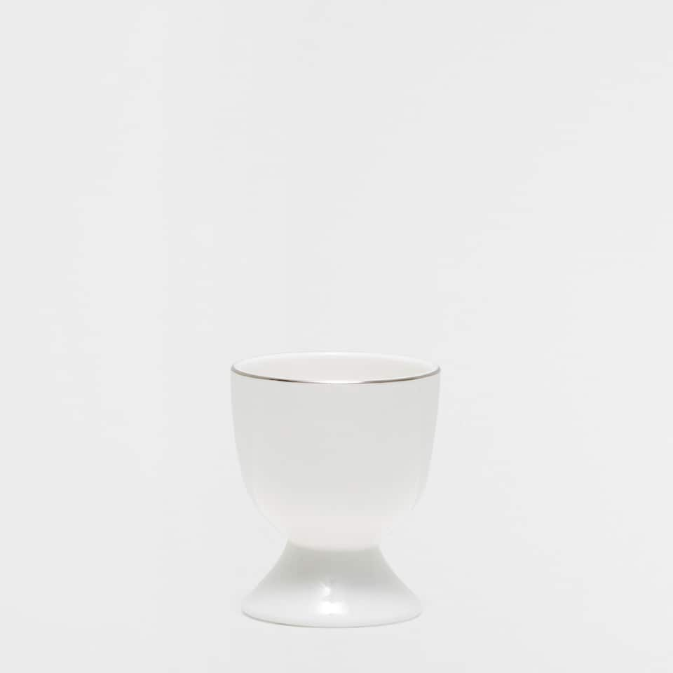 Silver rim bone china egg cup