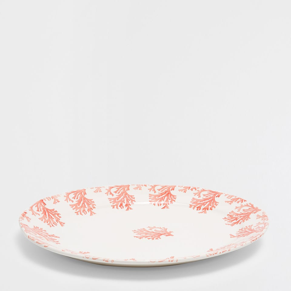 Handmade coral earthenware serving dish