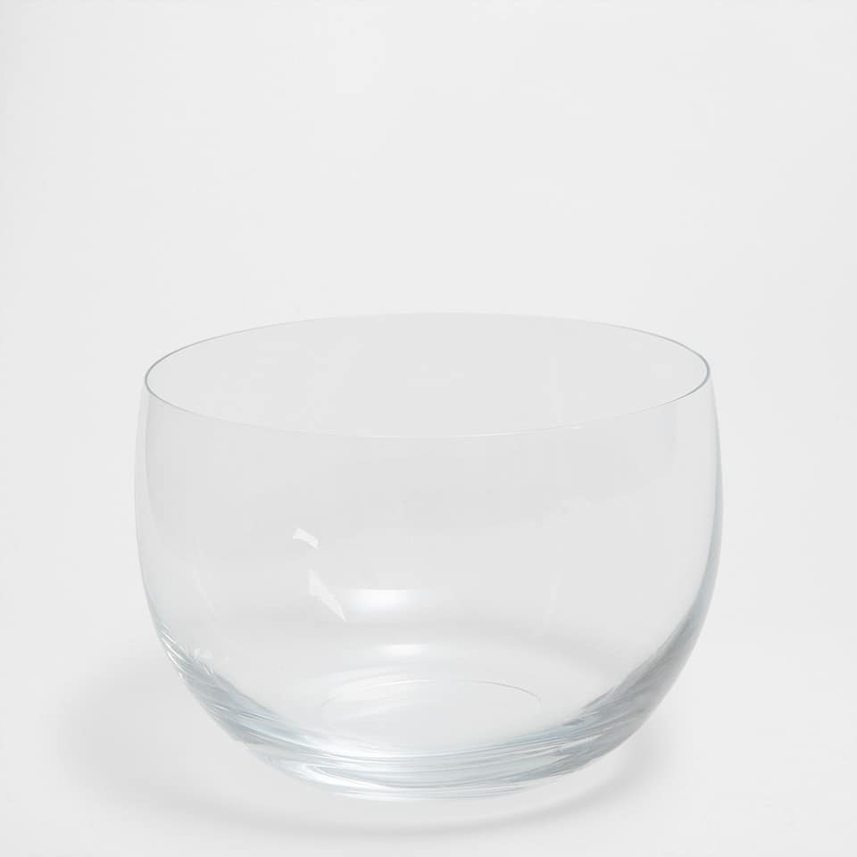 Transparent glass salad bowl