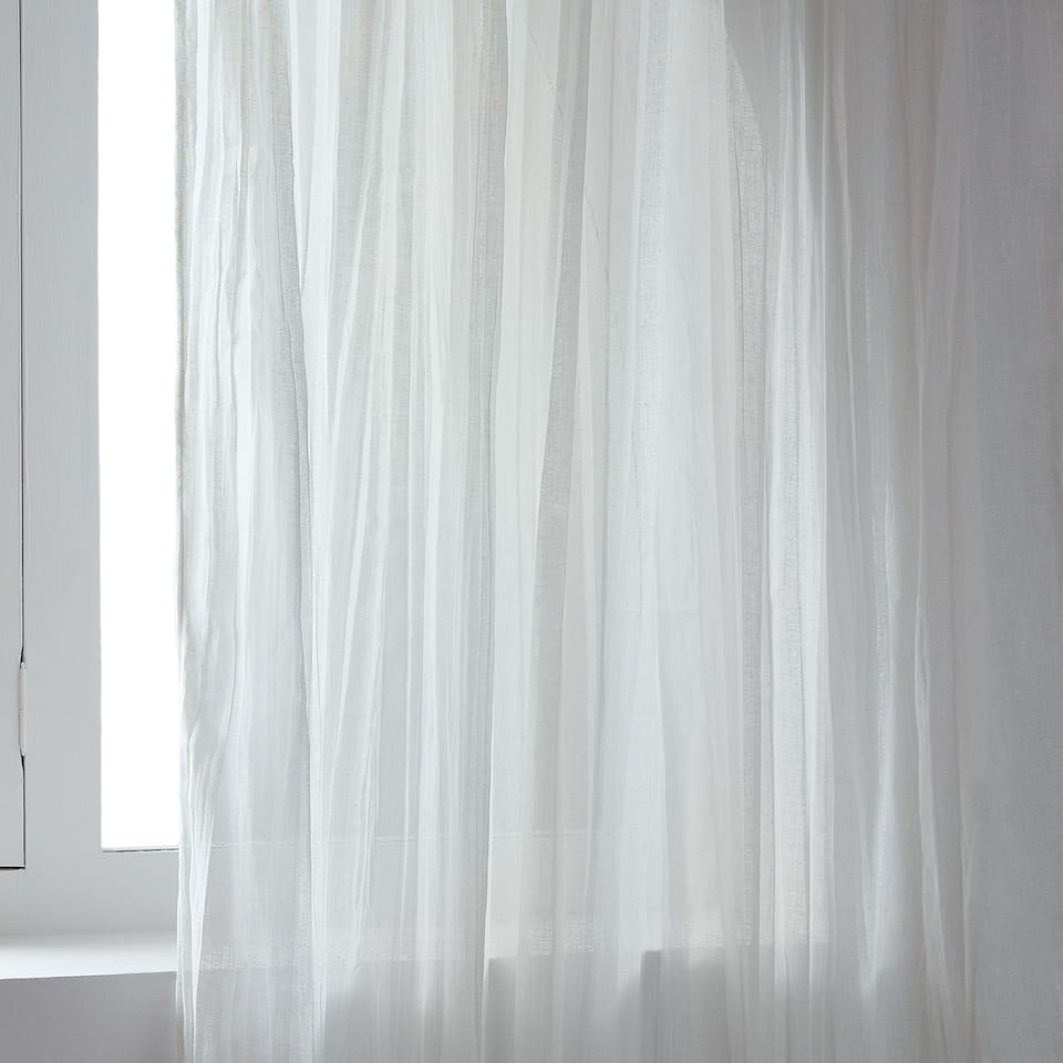 White sheer curtain