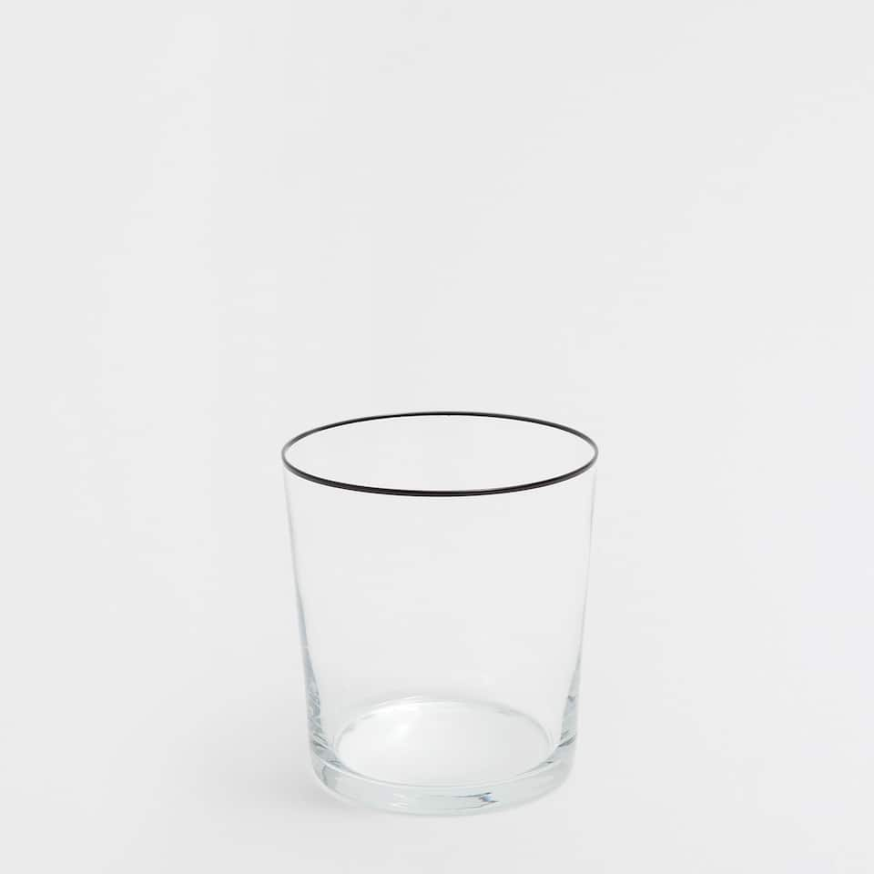 Glass tumbler with black rim