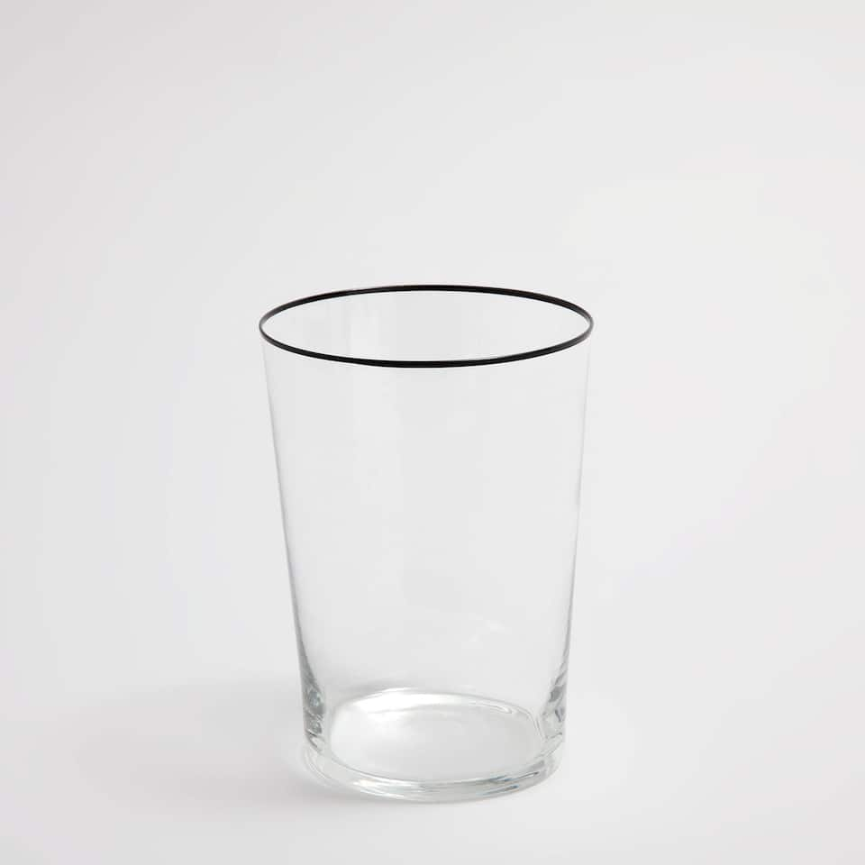 Soft-drink glass tumbler with black rim