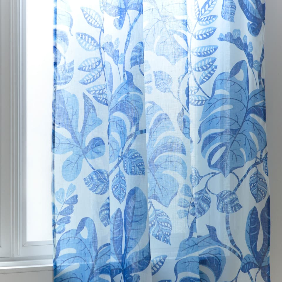 Blue floral printed linen curtain