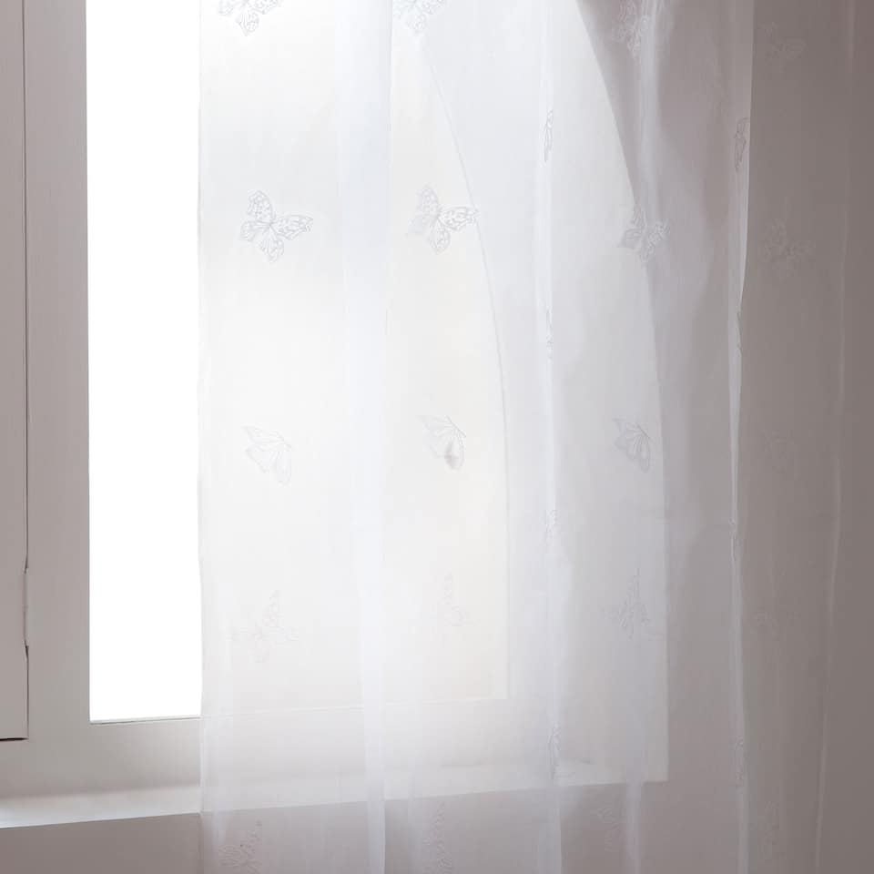 White embroidered butterfly curtain
