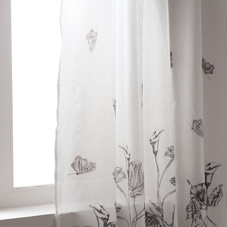 Digital printed linen curtain