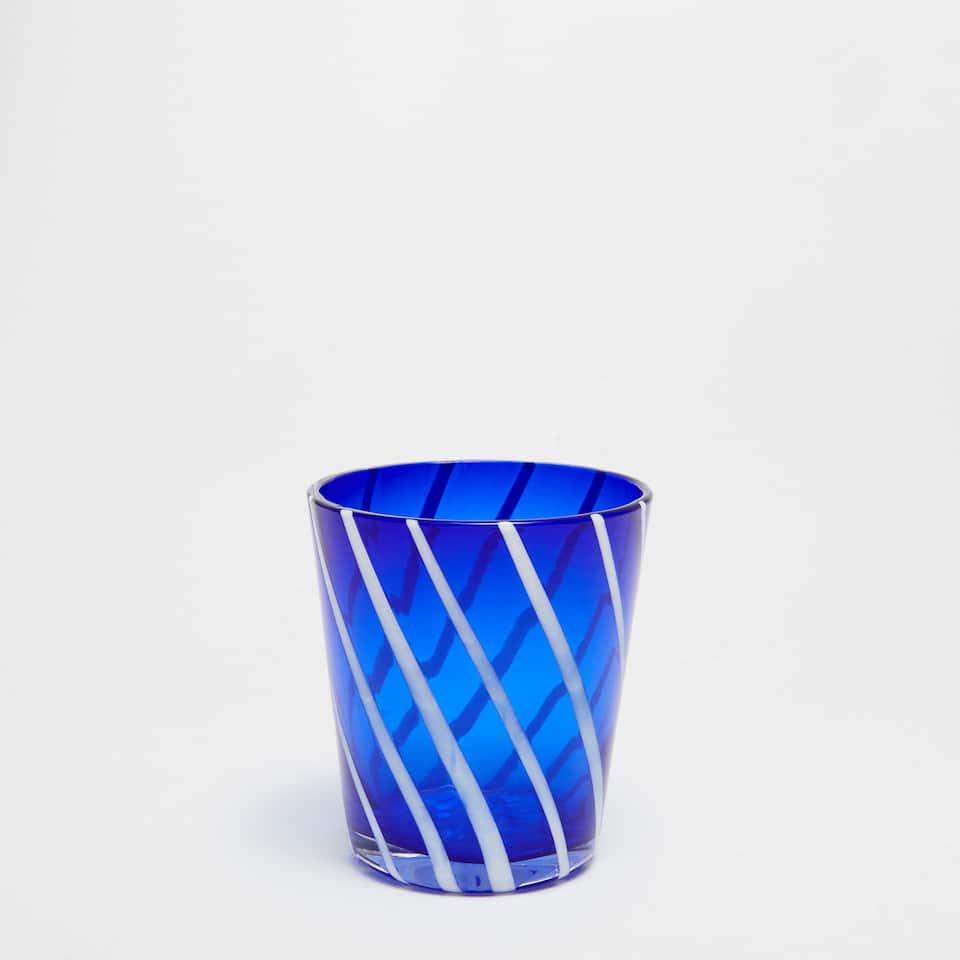 Blue glass tumbler with white stripe