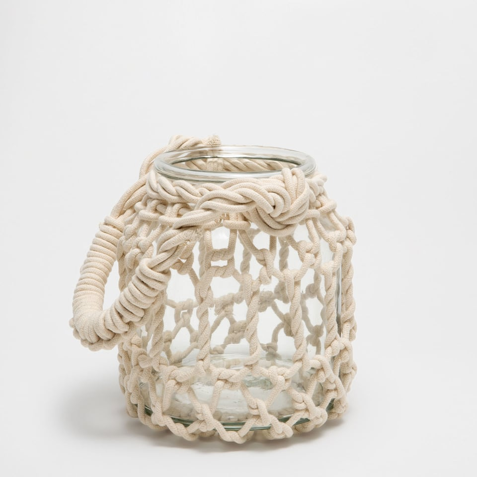Glass and plaited rope lantern