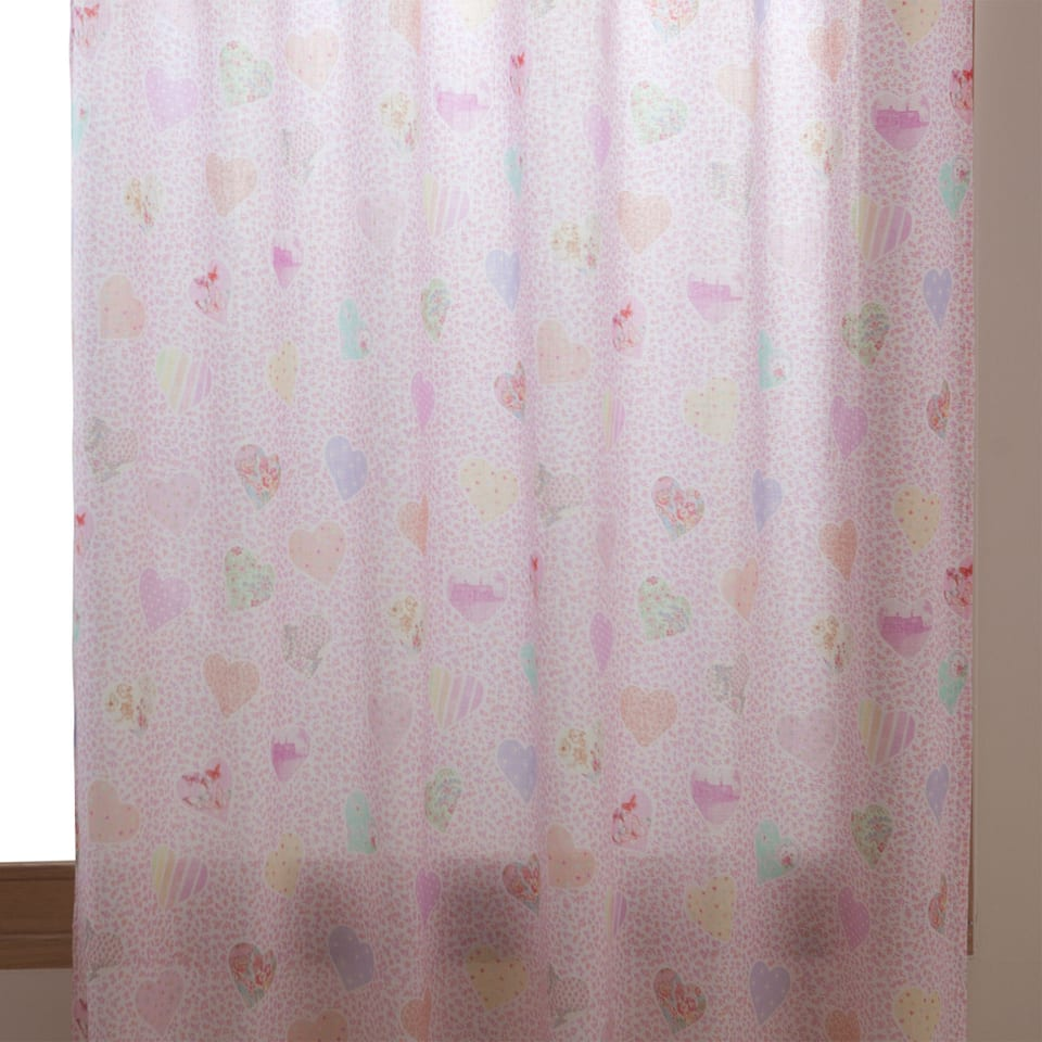 Heart printed curtain