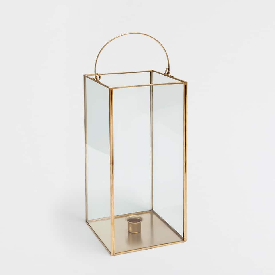 Glass and gold metal lantern