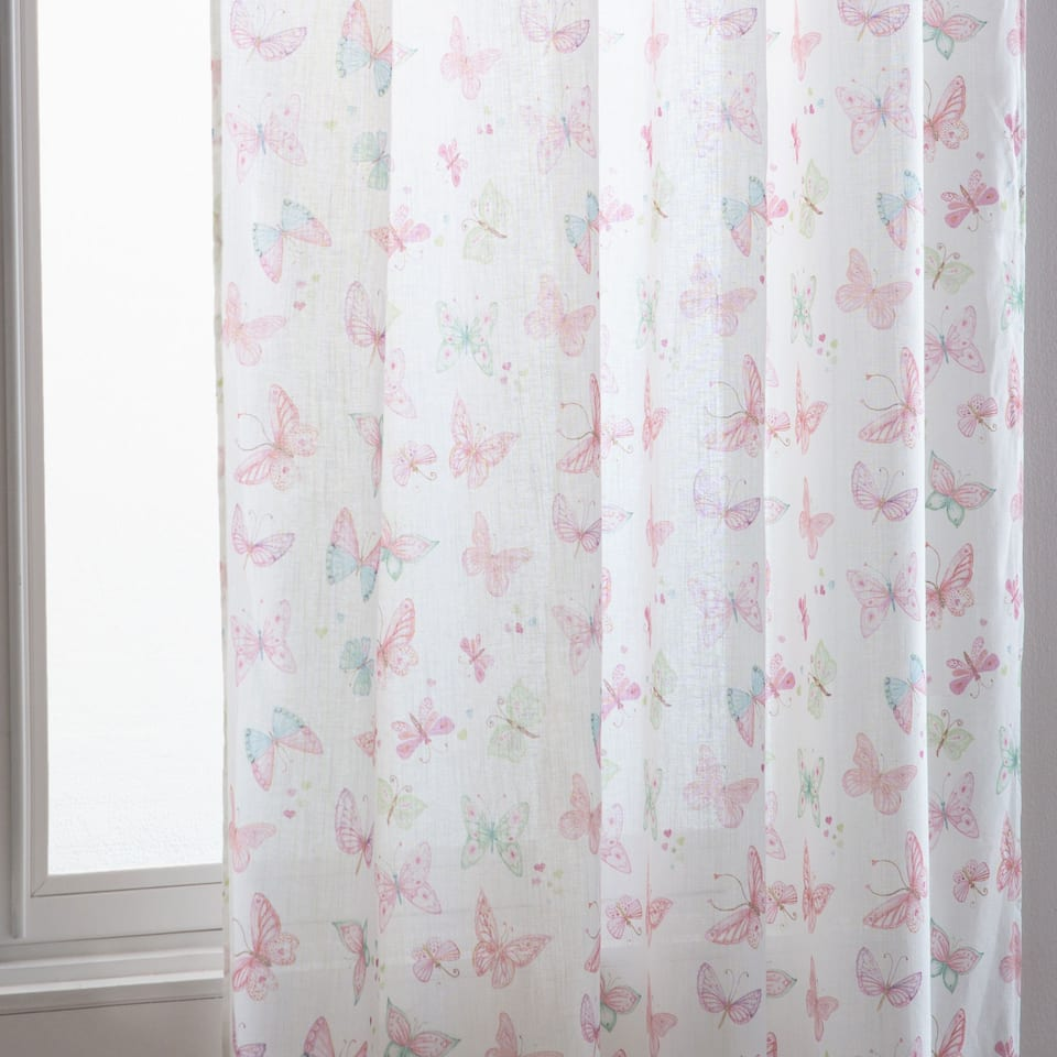 Pastel butterflies cotton curtain