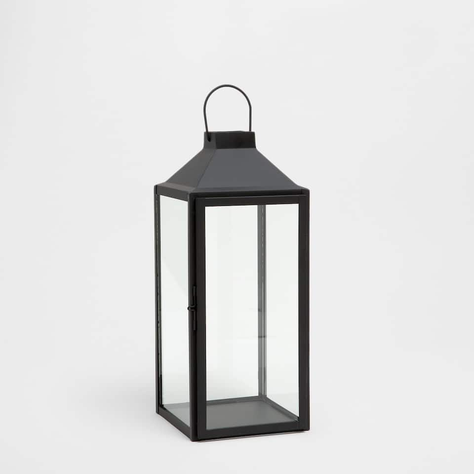 Black glass and metal lantern