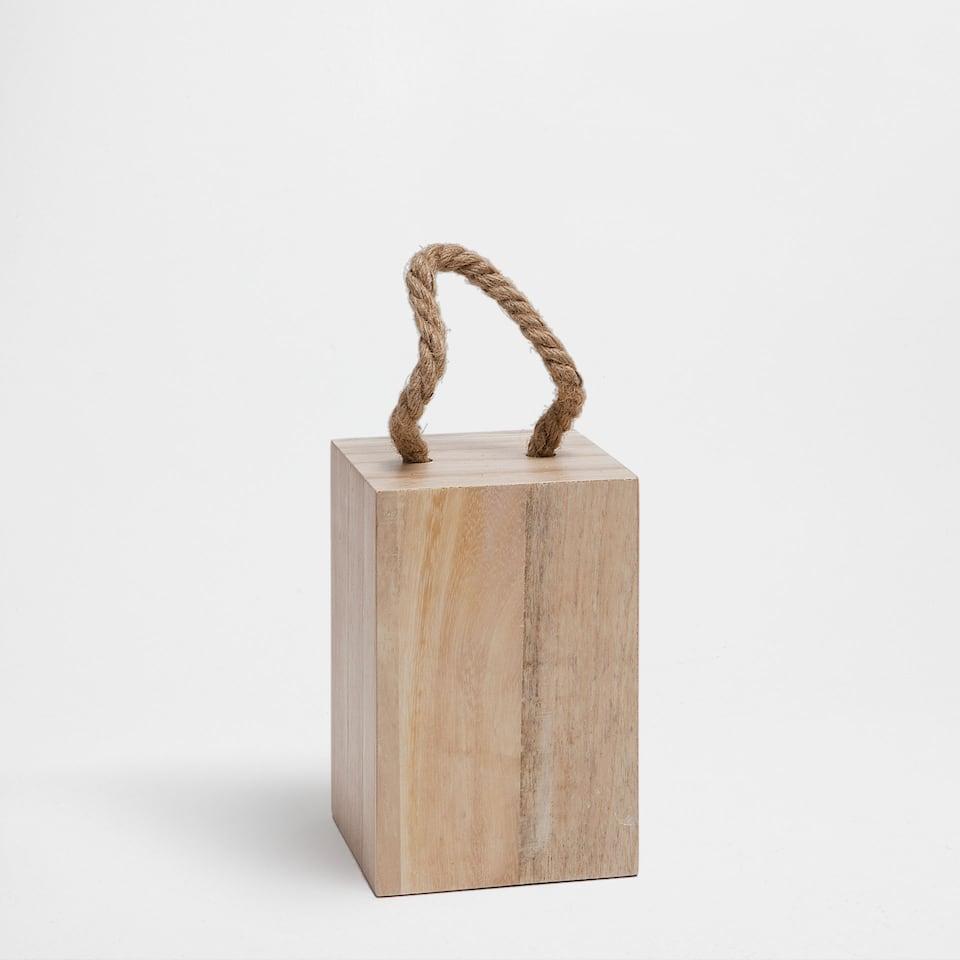 Wooden door stop with jute handle