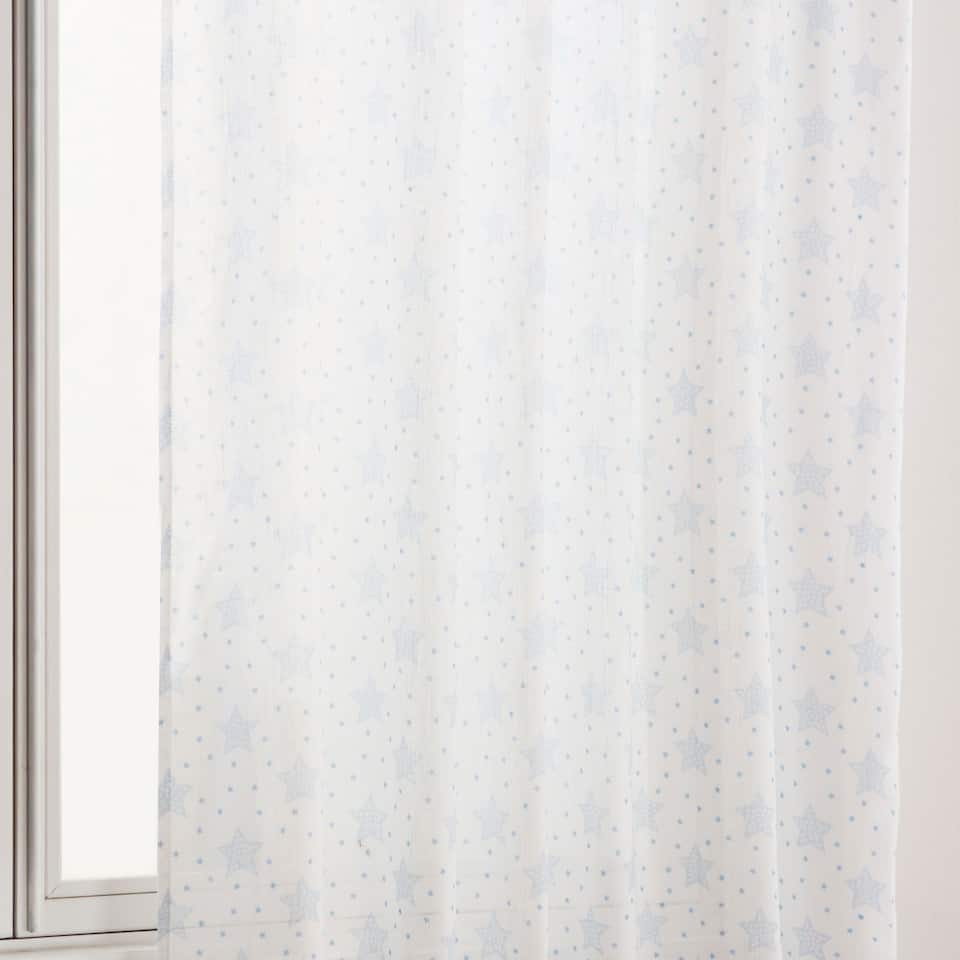 Blue star printed curtain