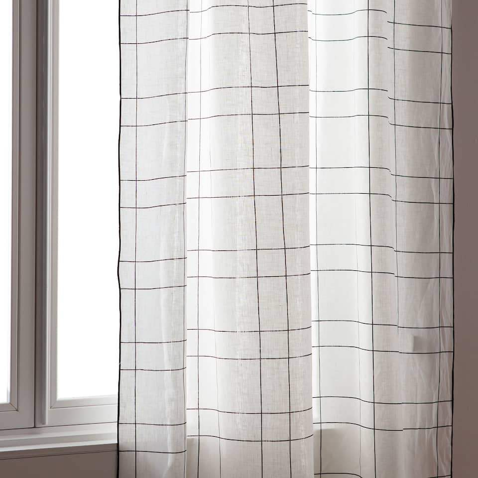 Black check printed linen curtain