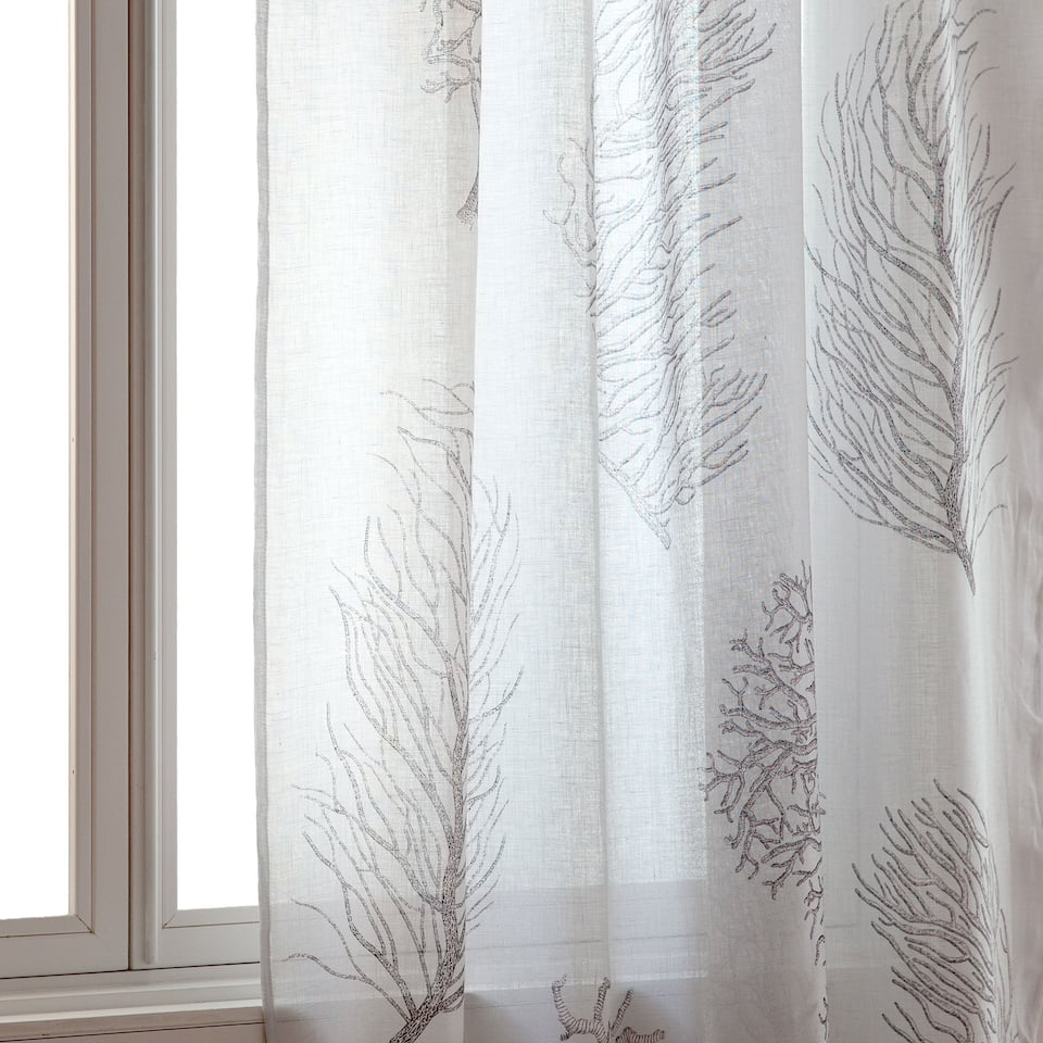 Coral printed curtain
