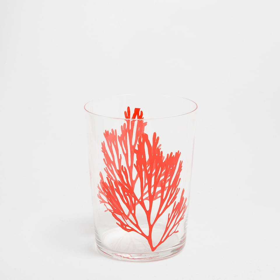 Coral transfer soft drink glass tumbler