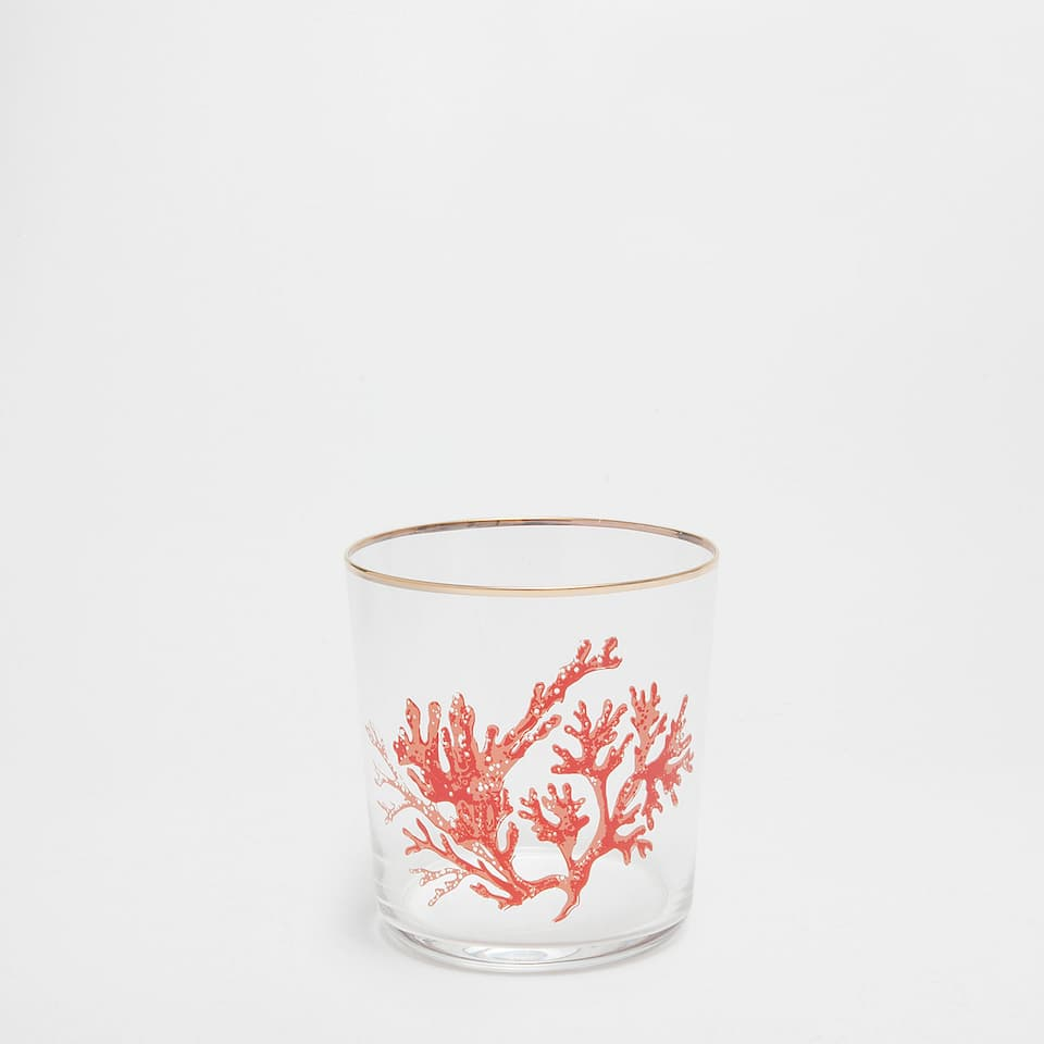 Coral glass tumbler with gold edge