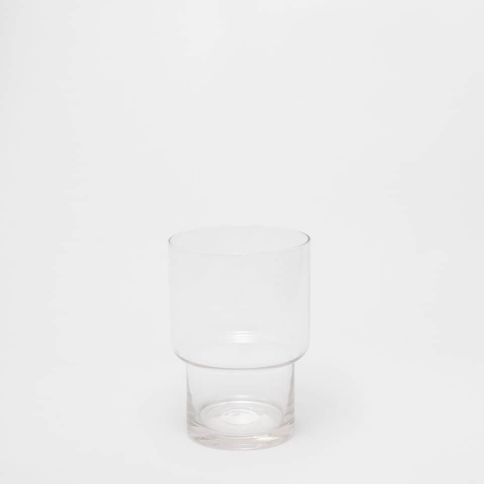 Wide inverted glass tumbler