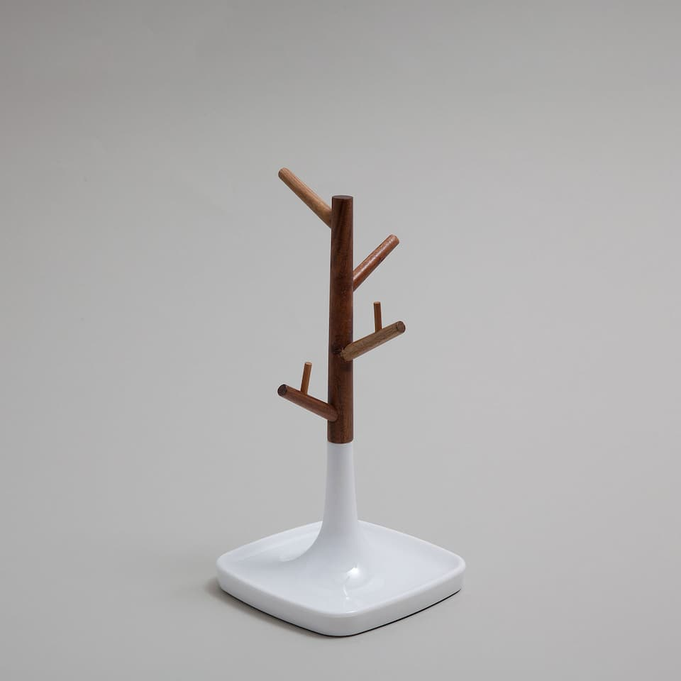Mini decorative figure with wooden hook