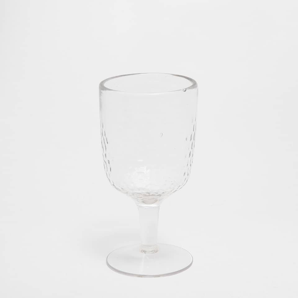 Hammered effect wine glass