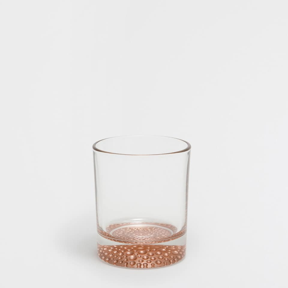 Copper bubbles base glass tumbler