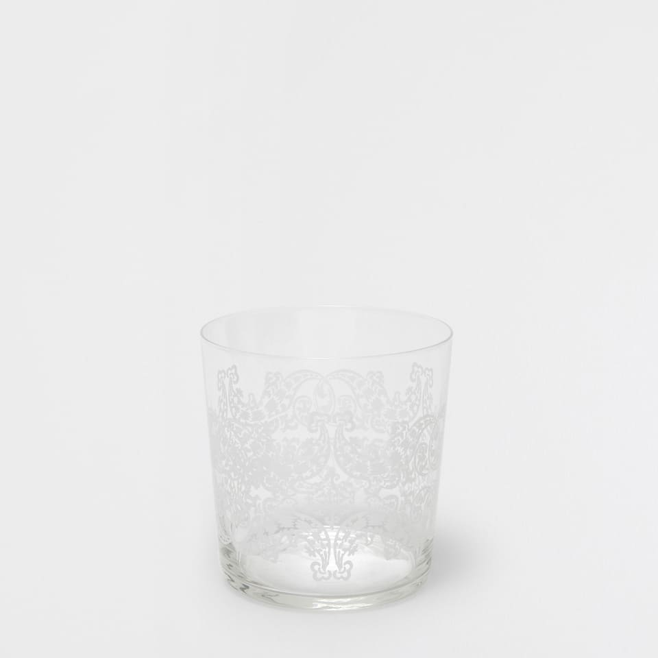 White transfer glass tumbler