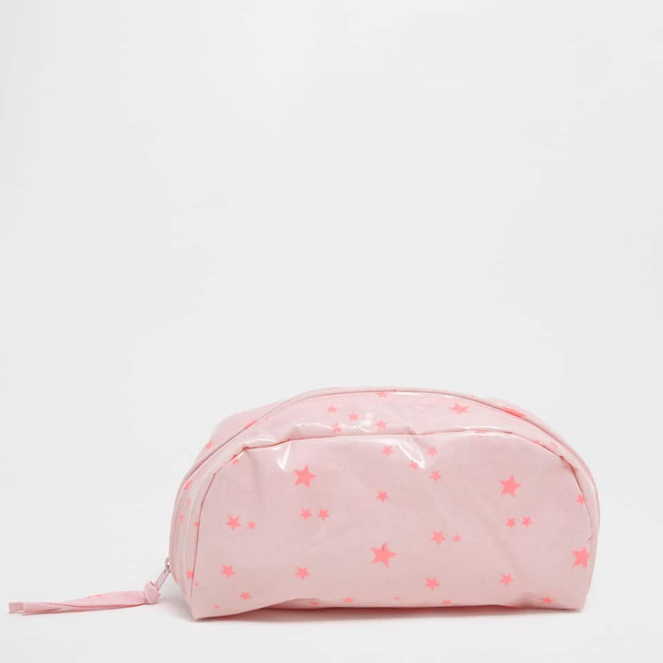 Plastic-coated toiletry bag with little stars print