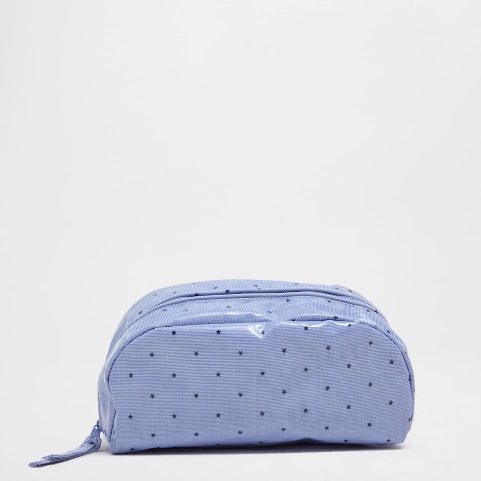 Plastic-coated toiletry bag with a mini star print