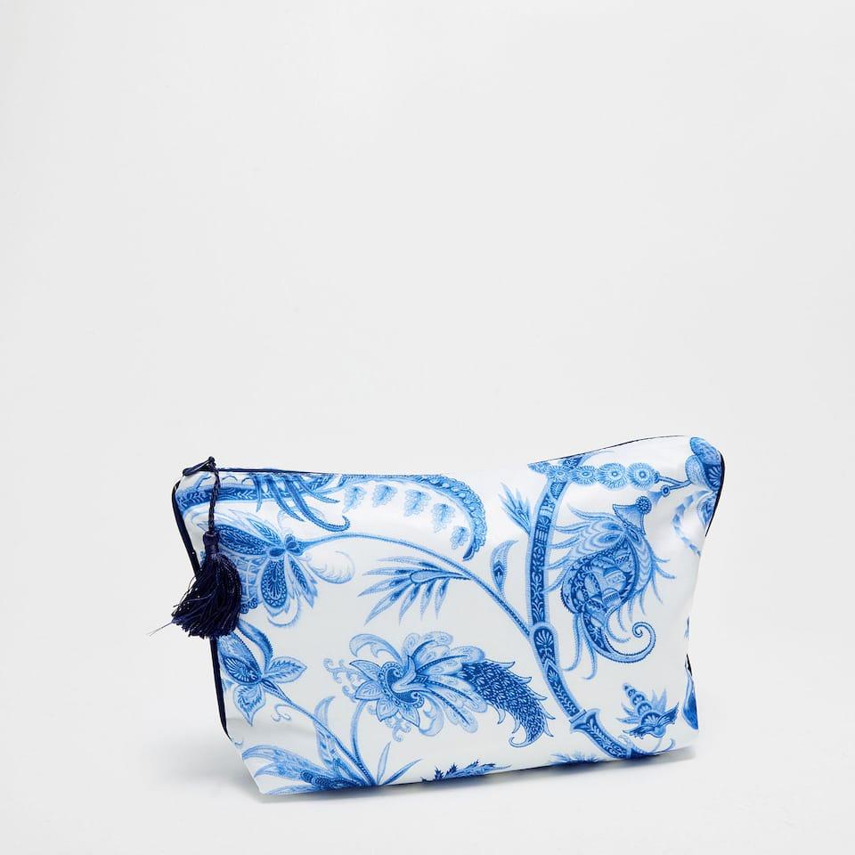 Blue floral printed toiletry bag