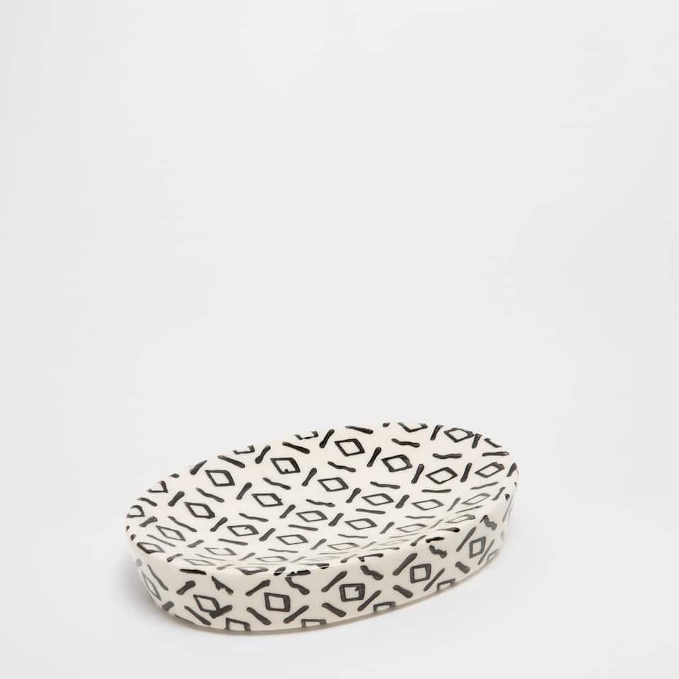 Ceramic soap dish with two-tone design
