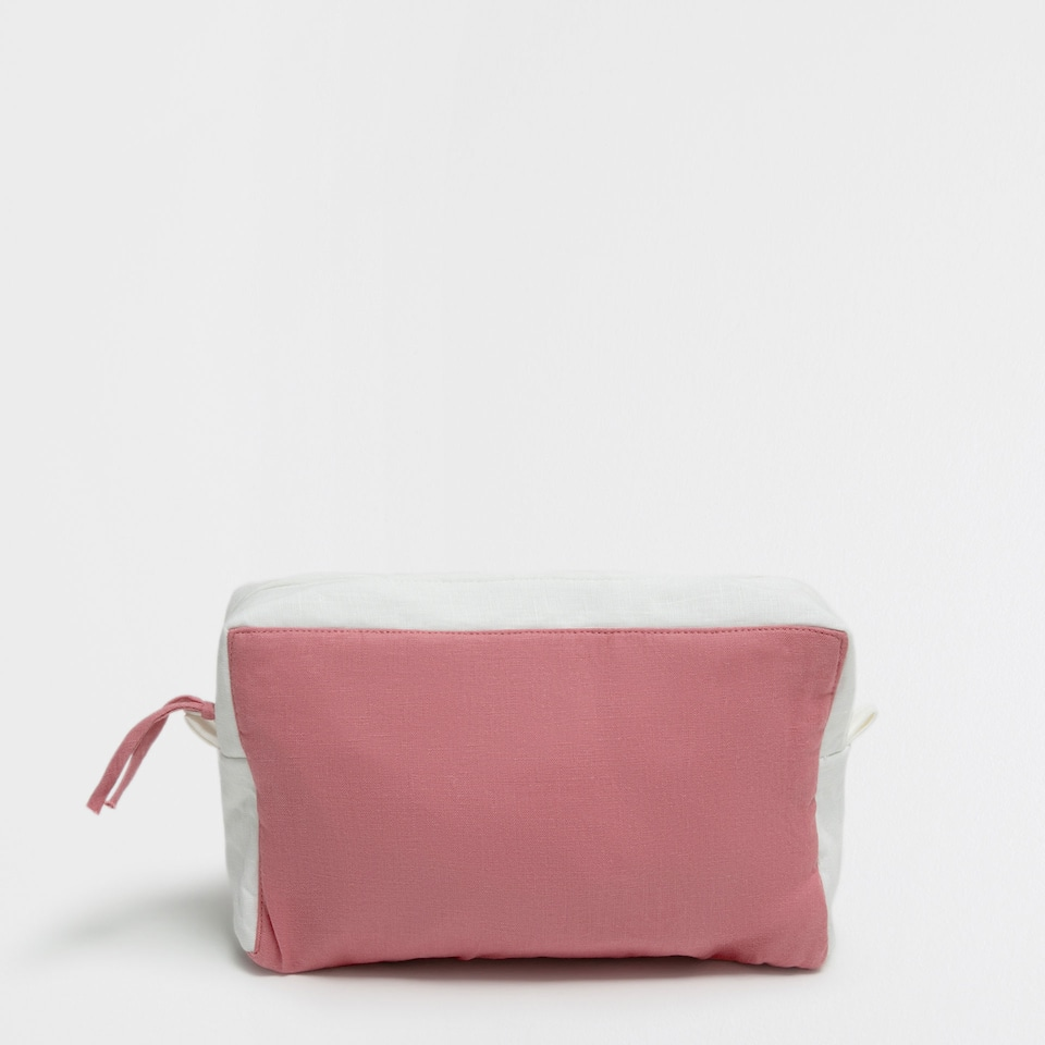 Two-tone washed linen toiletry bag