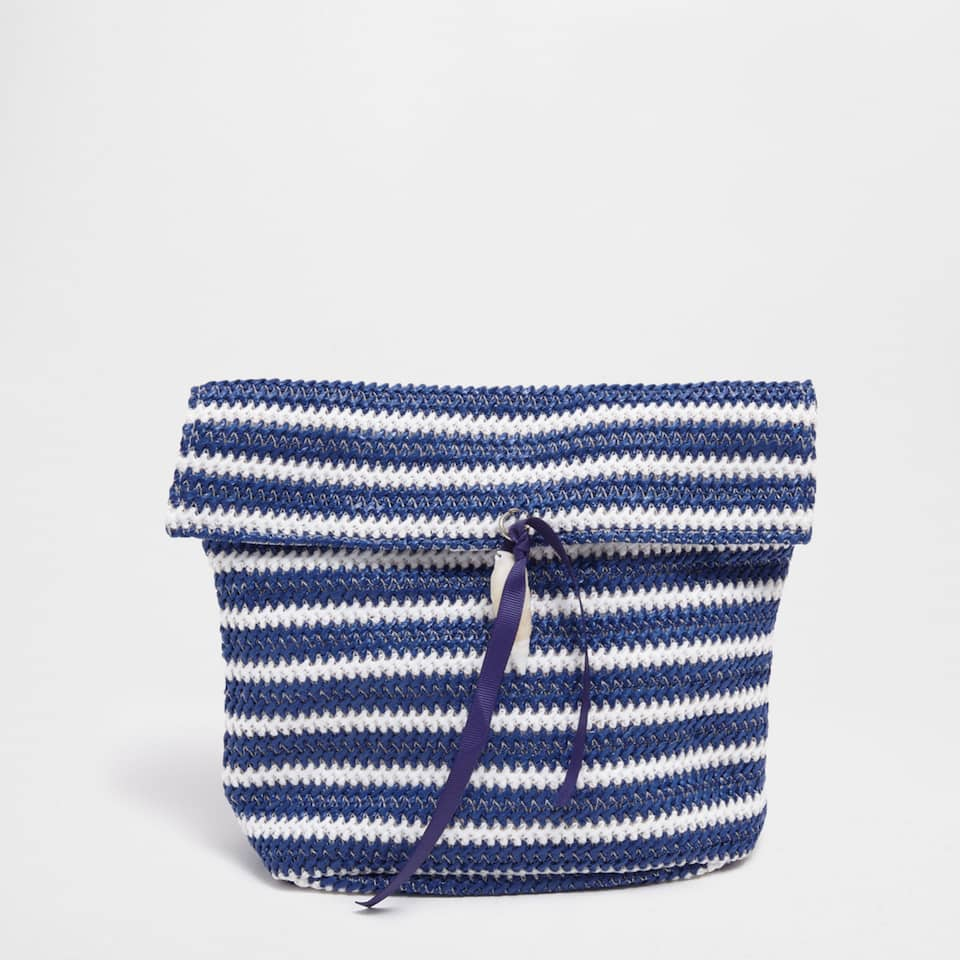 Blue and white striped plaited toiletry bag