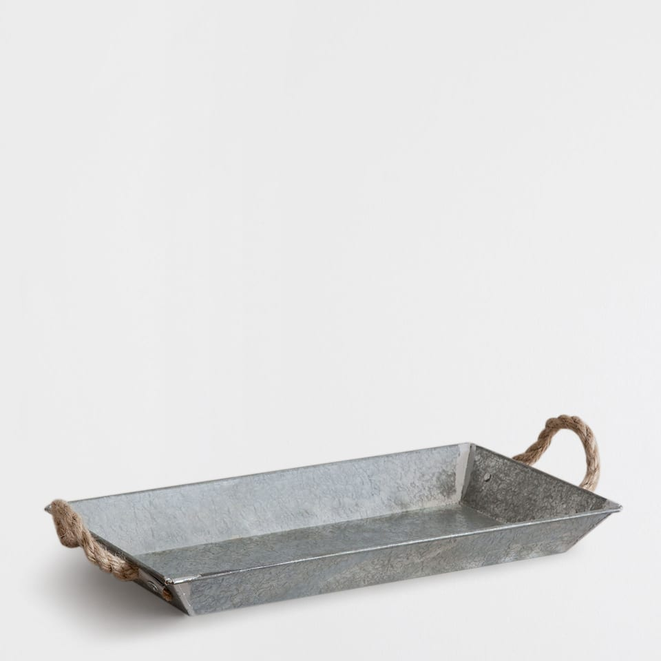 IRON TRAY WITH JUTE HANDLES
