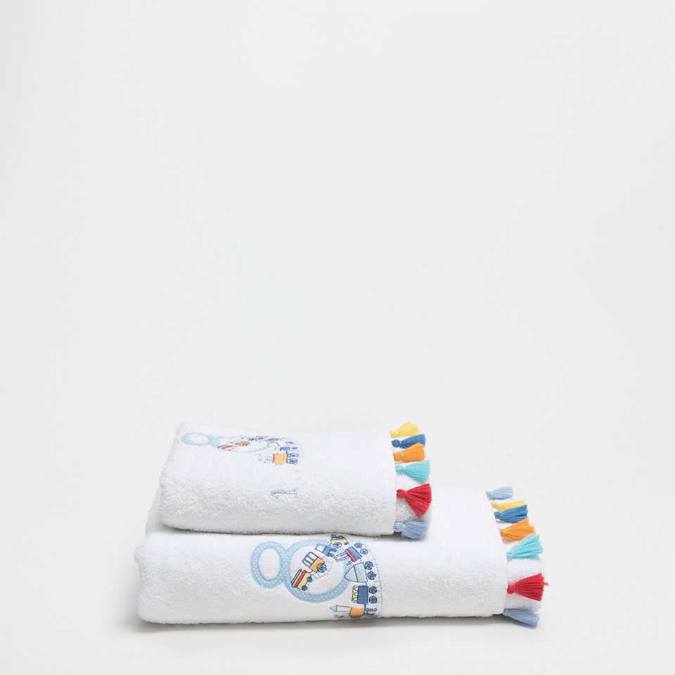 Multicoloured pompoms embroidered cotton towel