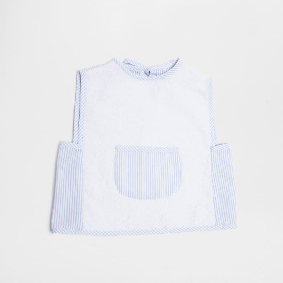 Blue double-weave striped bib