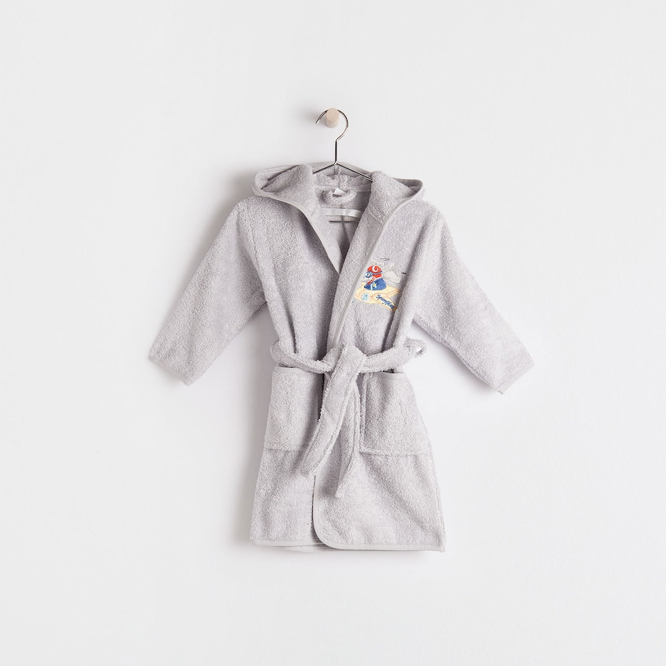 Plane embroidered cotton bathrobe