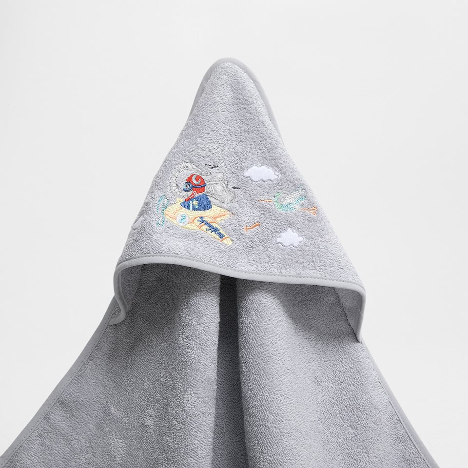Plane embroidered cotton towel