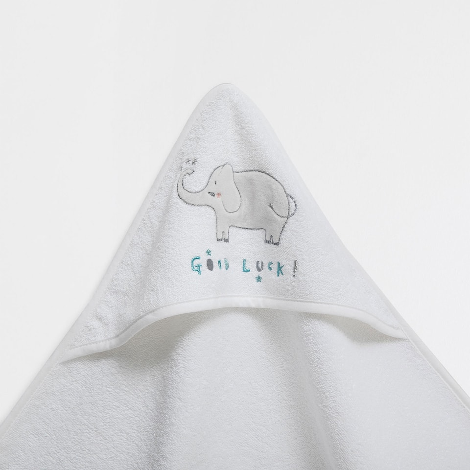 Elephant embroidered cotton towel