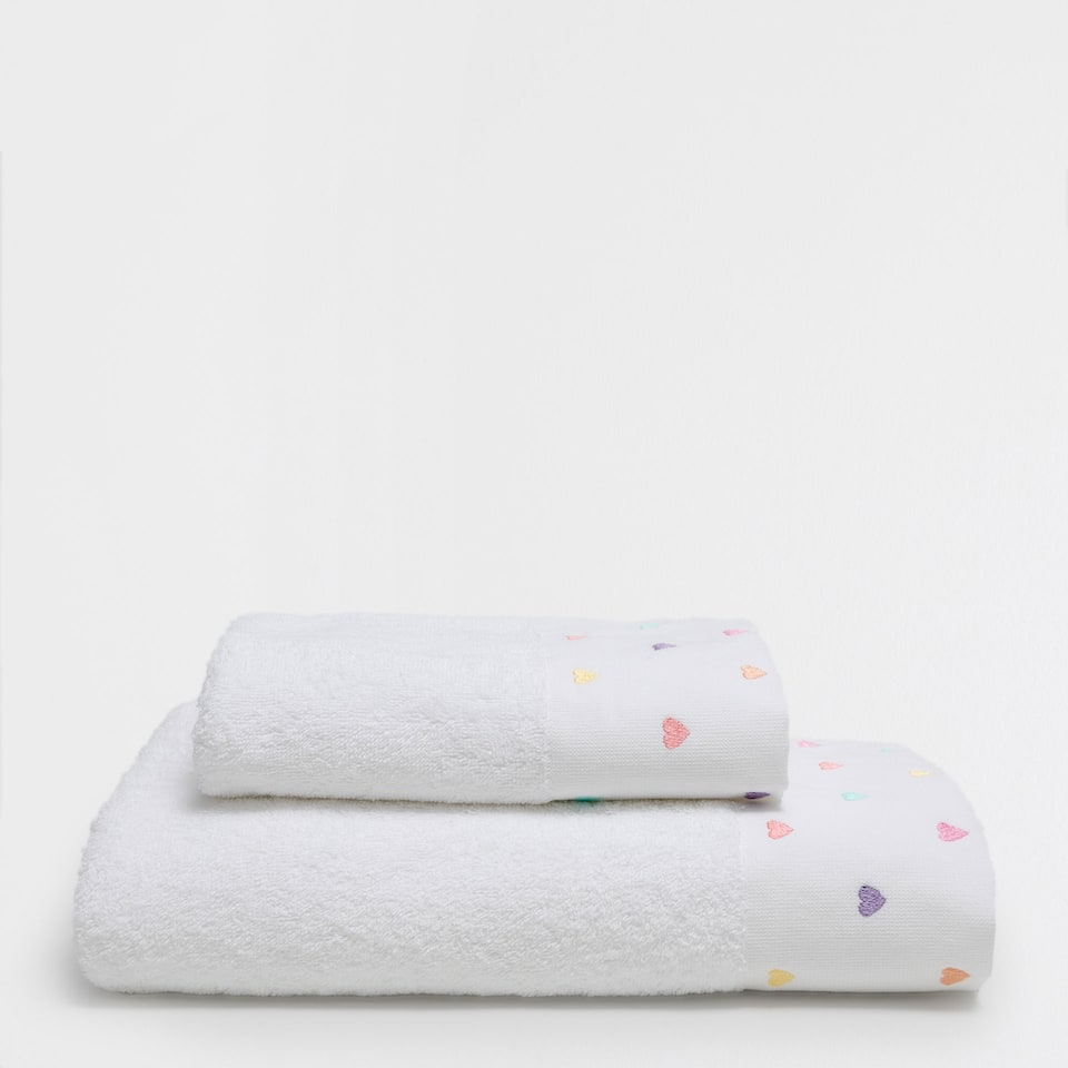Hearts embroidered cotton towel