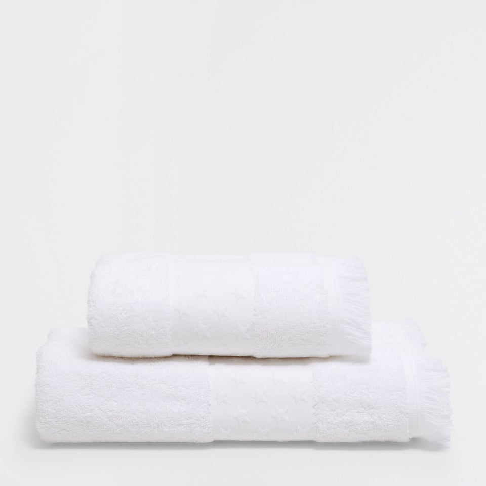 Stars border cotton towel