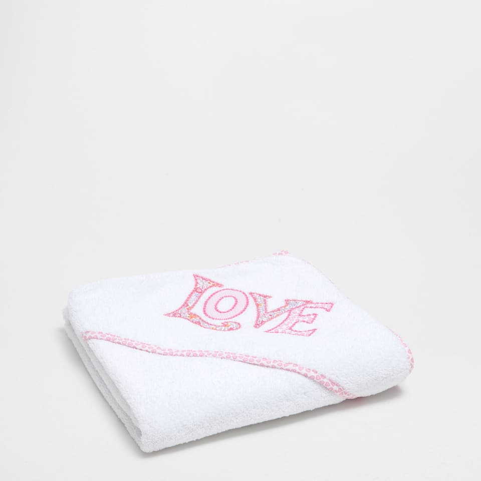 Love embroidered cotton towel