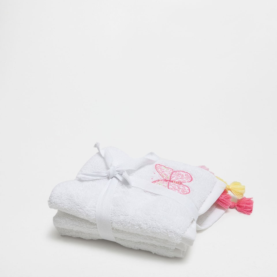 Butterfly embroidered cotton towel set