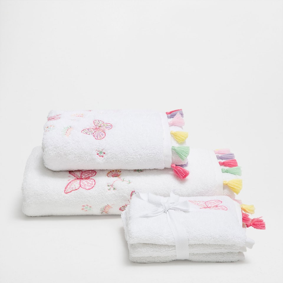 Butterfly embroidered cotton towel