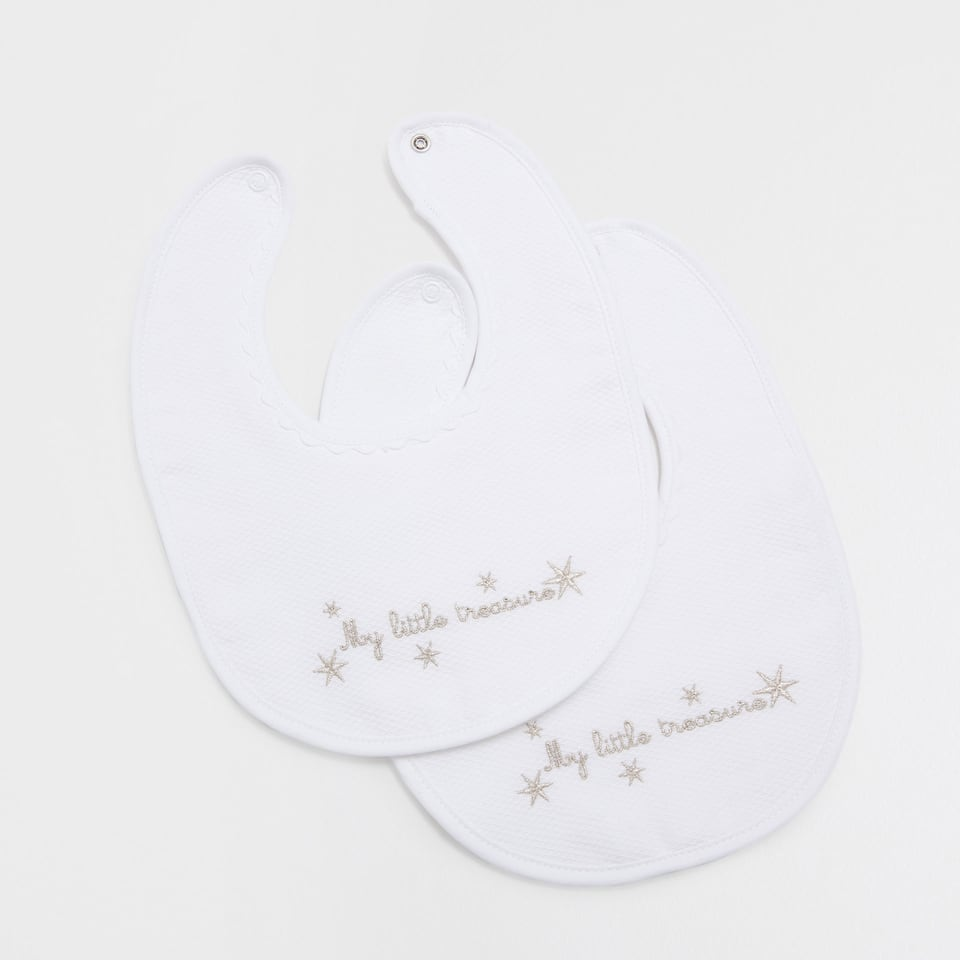 Bear embroidered cotton bib (set of 2)