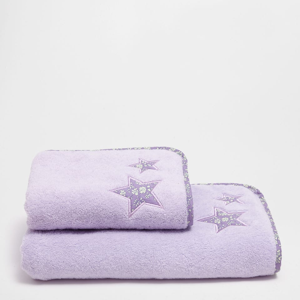 Embroidered cotton towel with appliqué