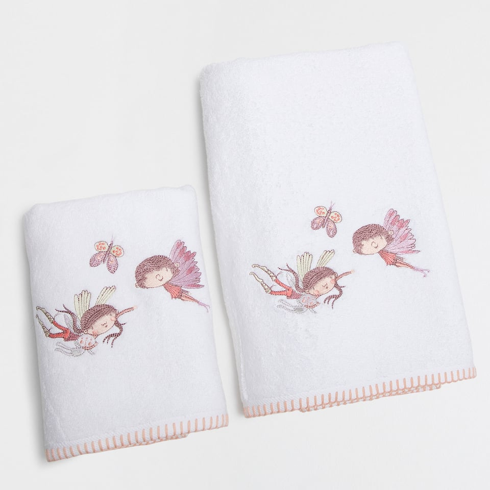 Fairies embroidered cotton towel