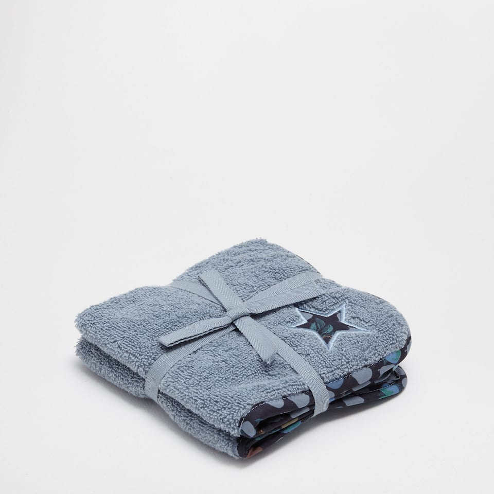 Embroidered cotton towel set with appliqué
