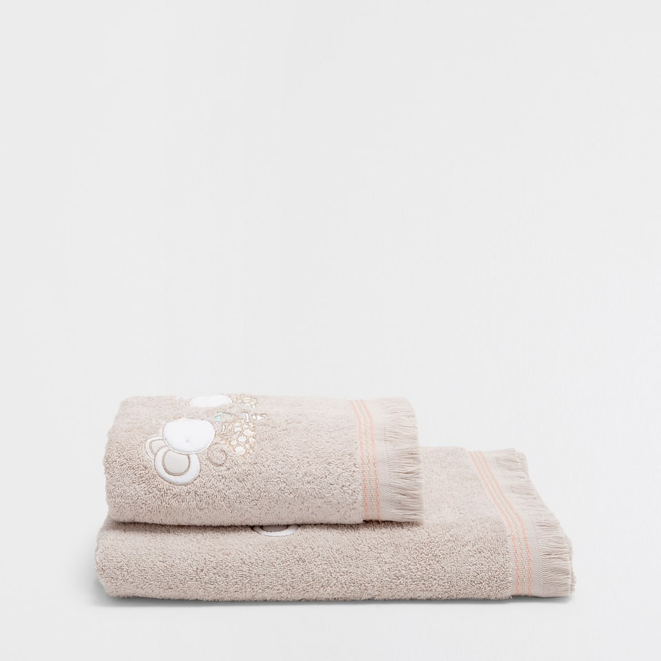 Mice embroidered cotton towel