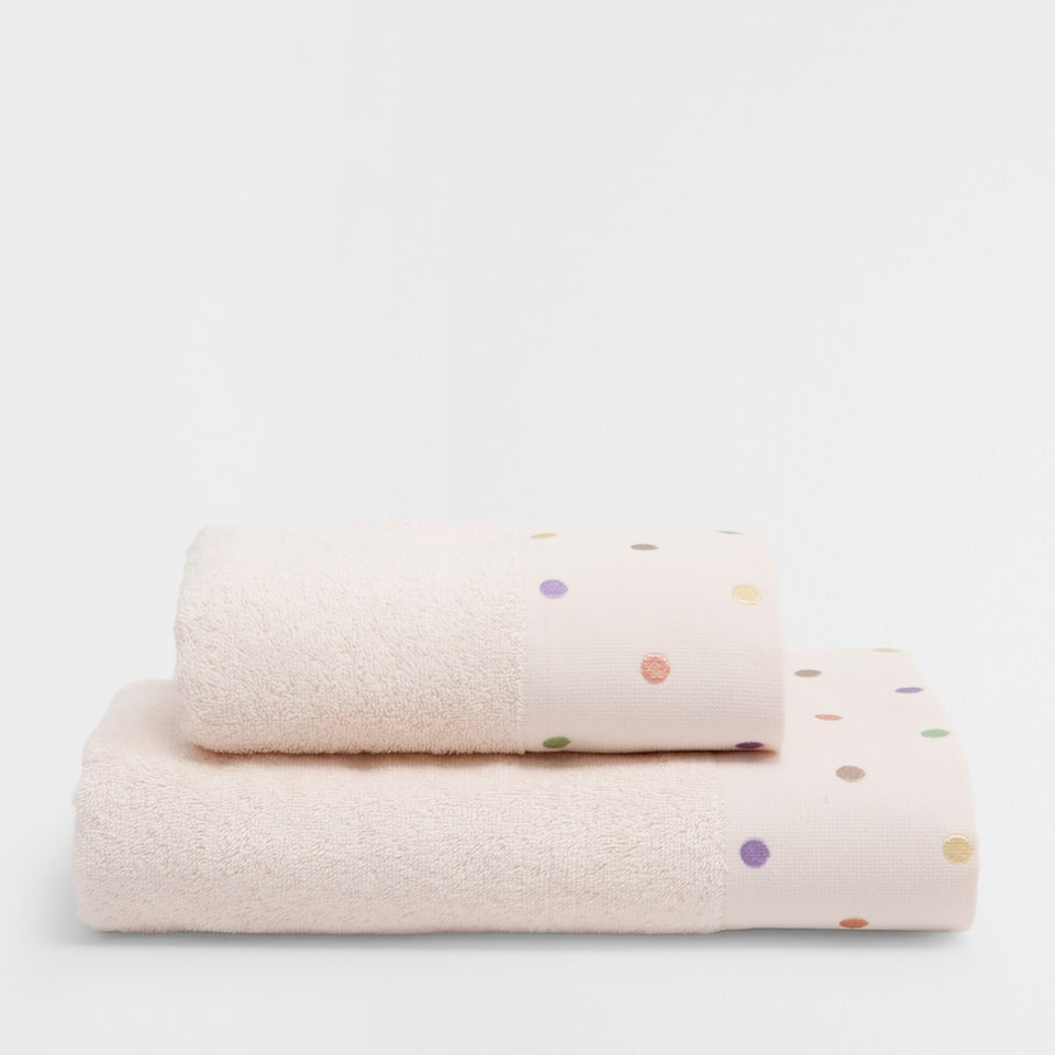 Multicoloured polka-dots embroidered cotton towel